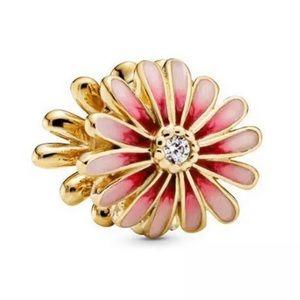 Pink Daisy Flower Charm For Pandora